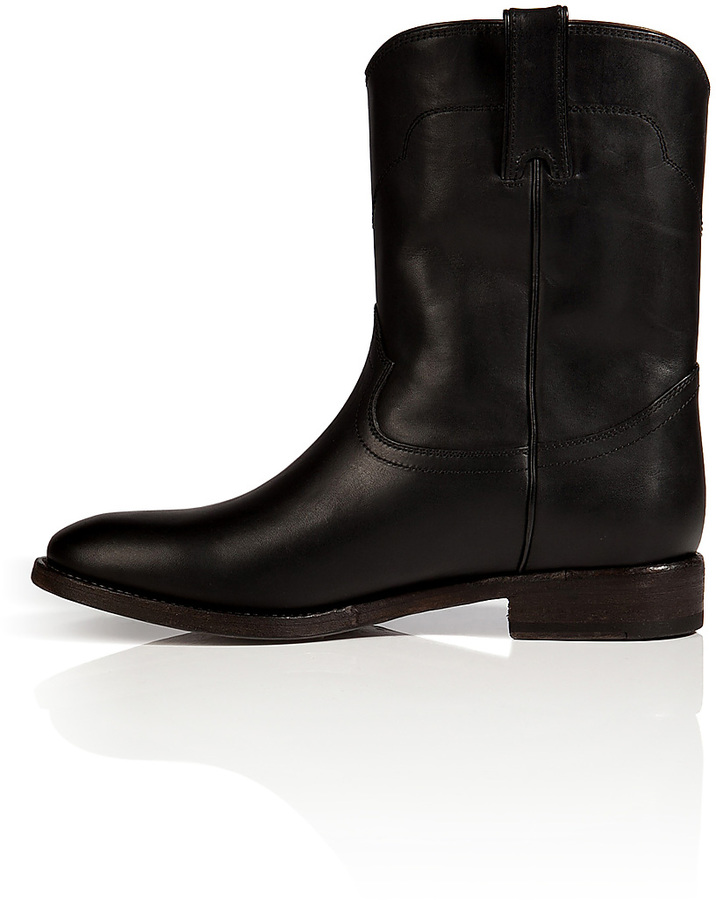 Ralph Lauren Distressed Vachetta Boots in Black