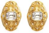 Kenneth Jay Lane Glass stone swirl filigree gold plated clip earrings