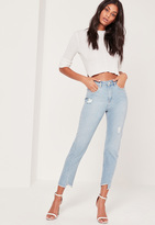 Missguided High Rise Twisted Hem Jeans Blue