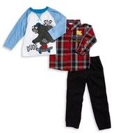 Nannette Little Boy's Plaid Sportshirt, Bear Graphic Top and Pants Set