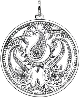 Thomas Sabo Oriental disc sterling silver and zirconia pendant, silver