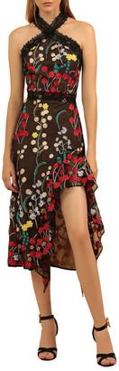 Bronx and Banco Ivana Embroidered Side-Ruffle Halter Dress