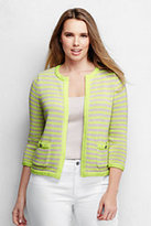 Classic Women's Plus Size Drifter Cropped Jacket Sweater-Vintage Birch Heather Stripe