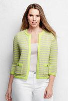 Lands' End Women's Plus Size Drifter Cropped Jacket Sweater-Light Sea Heather