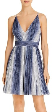 Aqua Metallic Stripe Fit & Flare Dress - 100% Exclusive