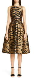 Carolina Herrera Tiger Jacquard Fit & Flare Dress