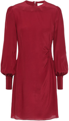 Zimmermann Ruched Ruffle-trimmed Silk Crepe De Chine Mini Dress