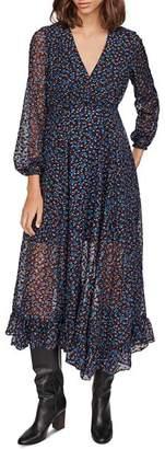 Maje Revana Floral Burnout Velvet Dress