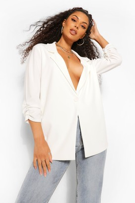 boohoo Ruched Sleeve Tailored Blazer