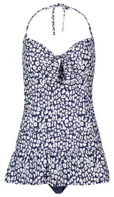 George Navy Animal Print Skirted Tummy Control Swimsuit