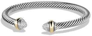 David Yurman Cable Classics Bracelet With Diamonds And 14K Gold, 5Mm