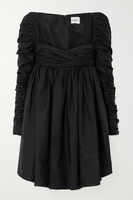 KHAITE Sueanne Ruched Cotton-twill Mini Dress - Black
