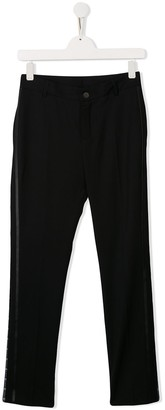 Givenchy Kids faux leather trim trousers
