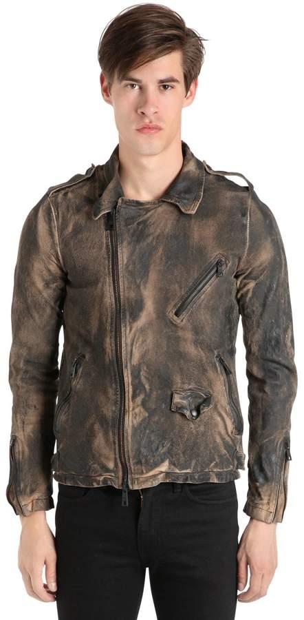 Giorgio Brato Vintage Effect Washed Leather Jacket