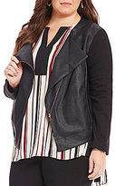 Gibson & Latimer Plus Open Neck Ponte and Faux Leather Moto Jacket