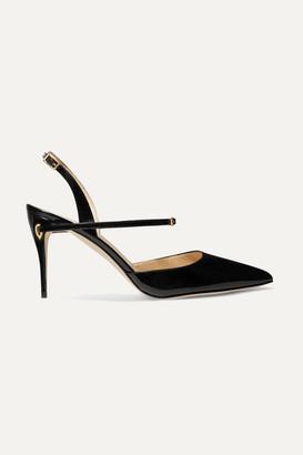Jennifer Chamandi Vittorio 90 Patent-leather Slingback Pumps - Black