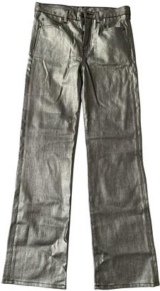 Saint Laurent Silver Cotton Trousers