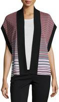 Ming Wang Stripe-Print Knit Jacket, Flamingo/Black/White