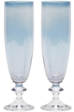 Luisa Beccaria Set Of Two Rosy Flute Glasses - Blue