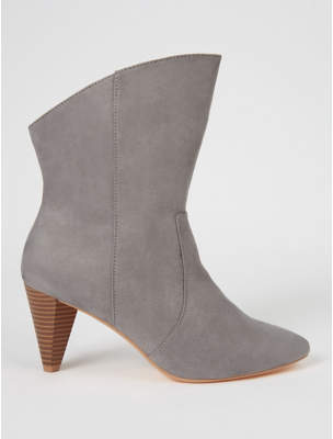 George Grey Suede Effect Cone Heel Western Ankle Boots