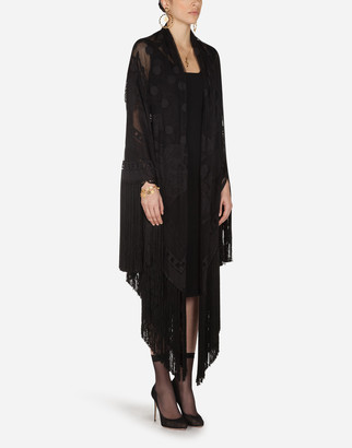 Dolce & Gabbana Cotton And Tulle Shawl With Fringe 140 X 140