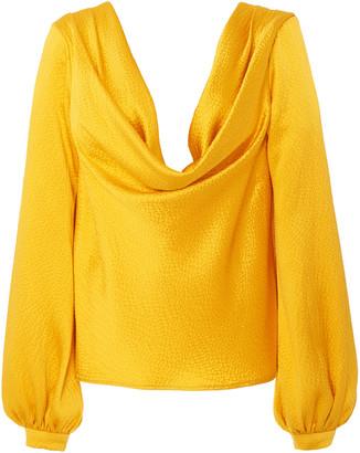 Rebecca De Ravenel Draped Pebbled Silk Top