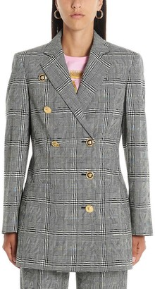 Versace Checkered Double Breasted Blazer