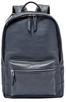 Fossil Estate Leather Navy Backpack