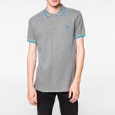 Paul Smith Men's Slim-Fit Grey Marl PS Logo Organic-Cotton Polo Shirt