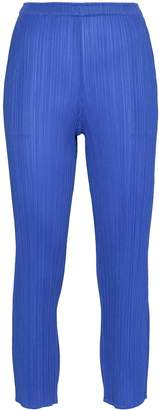 Pleats Please Issey Miyake pleated slim cropped trousers