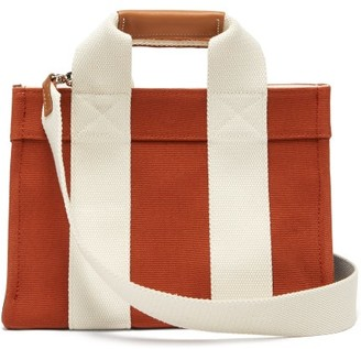 Rue De Verneuil - Lady Small Leather-trimmed Canvas Tote Bag - Womens - Dark Orange