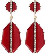 Amrita Singh Ruby & Goldtone Art Deco Drop Earrings