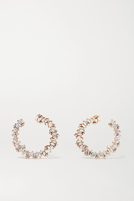Suzanne Kalan 18-karat Rose Gold Diamond Hoop Earrings - one size