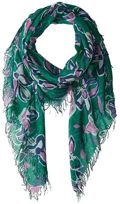 Chan Luu Cashmere Silk Modern Floral Print Scarf (Verdant Green) Scarves