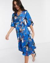 Liquorish wrap midi dress in blue bird print with kimono sleeves