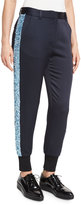 3.1 Phillip Lim Embellished Satin Track Pants, Midnight