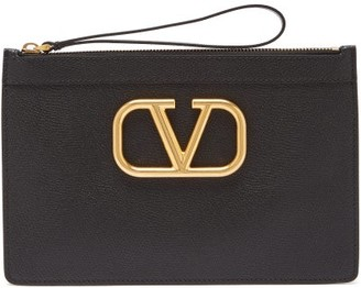 Valentino V-ring Grained-leather Pouch - Womens - Black