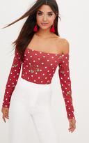PrettyLittleThing Burgundy Polka Dot Floral Printed Longsleeve Bardot Thong Bodysuit