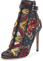 Valentino Embroidered Peep-Toe Ankle Boot, Black Multi