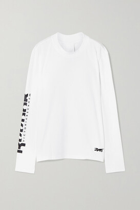 Reebok x Victoria Beckham Printed Embroidered Cotton-jersey Top - White