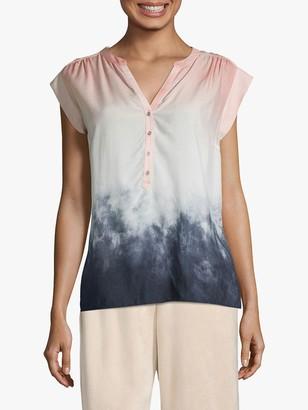 Betty & Co. Tie Dye Print Cap Sleeved Blouse, Rose/Blue