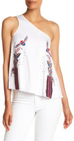 Cynthia Rowley Embroidered Twill One-Shoulder Top