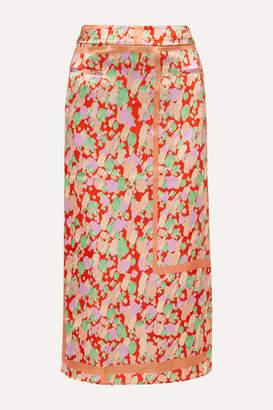 REJINA PYO Mina Ruched Printed Satin Midi Skirt - Red