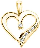 TwoBirch 14k Yellow Gold 14k Yellow gold Adorned Heart Shaped Pendant with Chain Charm set with Diamonds G-H I1-I2 (0.25 ct. twt.) with Diamonds (0.25 ct. twt.)