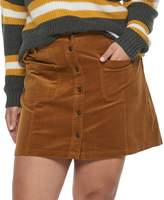 Mudd Juniors' Plus Size Button-Front Corduroy Skirt