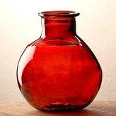 "Viva Terra Red Oval Recycled Glass Balloon Vase, 12"""