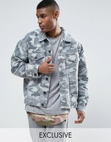 Cayler & Sons Denim Jacket In Camo With Distressing