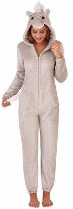 Loungeable Ladies Girls Teenagers Hooded Super Soft Sparkle Detail Unicorn All in One Onesie with 3D Horn and Mane