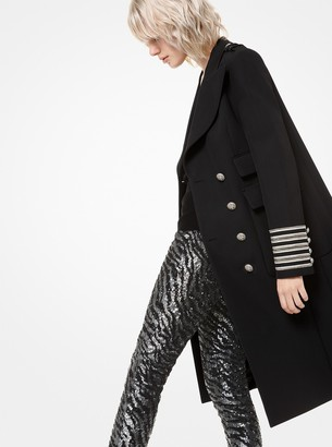 Michael Kors Bonded Wool and Cotton Gabardine Military Coat