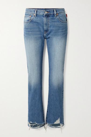 Denimist Joni Cropped Distressed Mid-rise Slim-leg Jeans - Mid denim